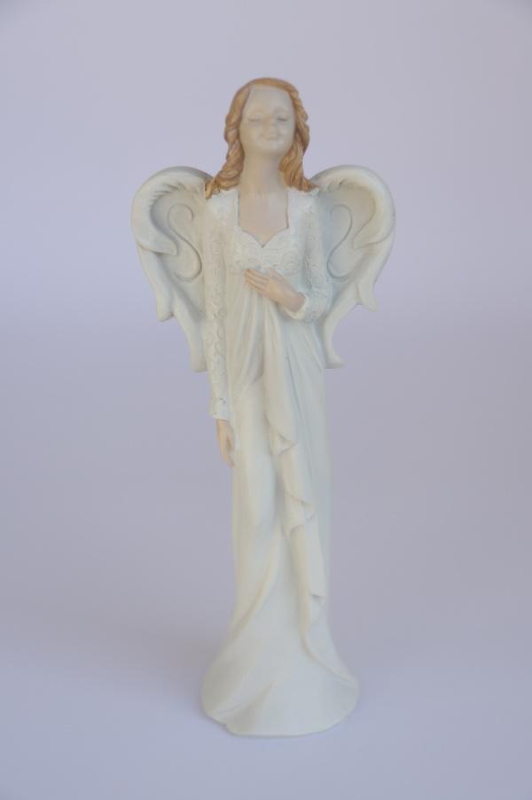 Anděl - hnědé vlasy, bílé šaty, 28cm