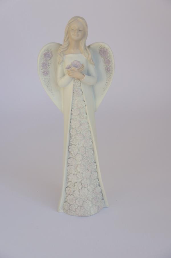 Anděl - šaty fialový květ, 28cm